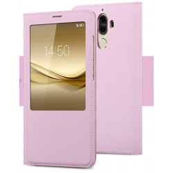 Etui Protection S-View Cover Rose Pour Huawei Mate 9 Lite