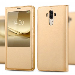 Gold S-view Flip Case For Huawei Mate 9 Lite