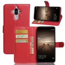 Protection Etui Portefeuille Cuir Rouge Huawei Mate 9 Lite