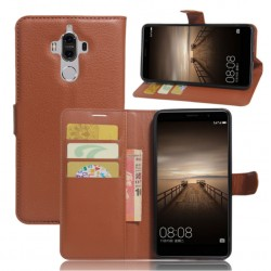 Protection Etui Portefeuille Cuir Marron Huawei Mate 9