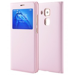 Etui Protection S-View Cover Rose Pour Huawei Nova Plus