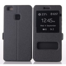 Black S-view Flip Case For Huawei P9 Lite