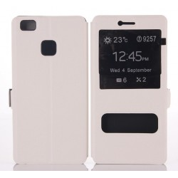 Etui Protection S-View Cover Blanc Pour Huawei P9 Lite