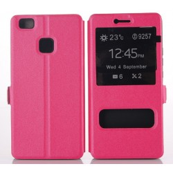 Etui Protection S-View Cover Rose Pour Huawei P9 Lite