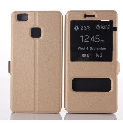 Etui Protection S-View Cover Or Pour Huawei P9 Lite