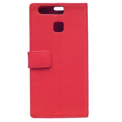 Protection Etui Portefeuille Cuir Rouge Huawei P9 Lite