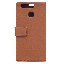 Protection Etui Portefeuille Cuir Marron Huawei P9 Lite