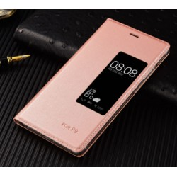 Pink S-view Flip Case For Huawei P9 Plus