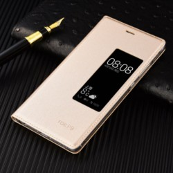 Gold S-view Flip Case For Huawei P9 Plus