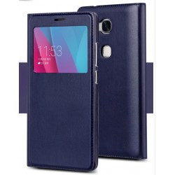 Etui Protection S-View Cover Bleu Pour Huawei Honor 6X
