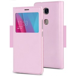 Etui Protection S-View Cover Rose Pour Huawei Honor 6X