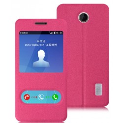 Pink S-view Flip Case For Huawei Y635