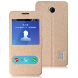 Gold S-view Flip Case For Huawei Y635