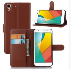 Protection Etui Portefeuille Cuir Marron Huawei Honor 4a