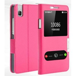 Etui Protection S-View Cover Rose Pour Huawei Honor 7i