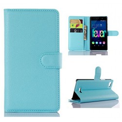 Protection Etui Portefeuille Cuir Bleu Wiko Fever 4G