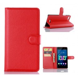 Protection Etui Portefeuille Cuir Rouge Wiko Fever 4G