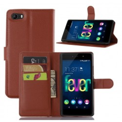 Protection Etui Portefeuille Cuir Marron Wiko Fever 4G