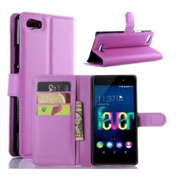 Protection Etui Portefeuille Cuir Violet Wiko Fever 4G