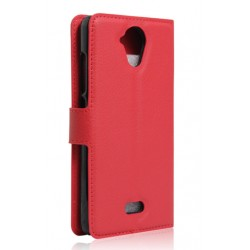 Protection Etui Portefeuille Cuir Rouge Wiko U Feel Lite