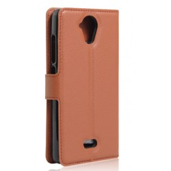 Protection Etui Portefeuille Cuir Marron Wiko U Feel Lite
