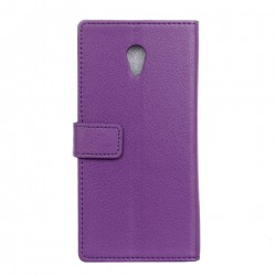 Protection Etui Portefeuille Cuir Violet Wiko Robby