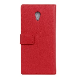 Protection Etui Portefeuille Cuir Rouge Wiko Robby
