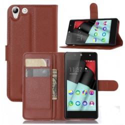 Protection Etui Portefeuille Cuir Marron Wiko Selfy 4G Rubby