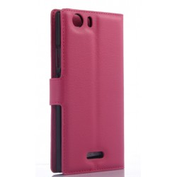 Protection Etui Portefeuille Cuir Rose Wiko Ridge Fab 4G