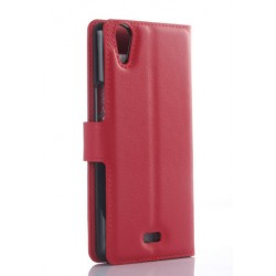 Protection Etui Portefeuille Cuir Rouge Wiko Rainbow Jam 4G