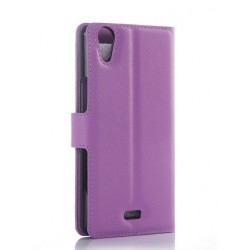 Protection Etui Portefeuille Cuir Violet Wiko Rainbow Jam 4G