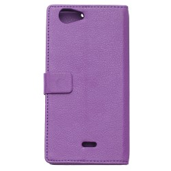 Protection Etui Portefeuille Cuir Violet Wiko Pulp Fab 4G