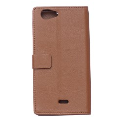 Protection Etui Portefeuille Cuir Marron Wiko Pulp 4G