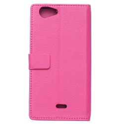 Protection Etui Portefeuille Cuir Rose Wiko Pulp 4G