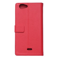 Protection Etui Portefeuille Cuir Rouge Wiko Pulp 4G