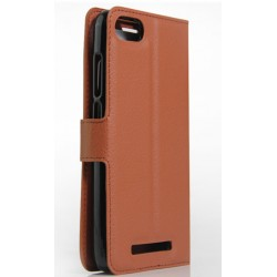 Protection Etui Portefeuille Cuir Marron Wiko Lenny 2