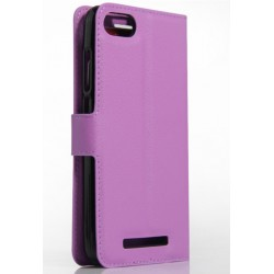 Protection Etui Portefeuille Cuir Violet Wiko Lenny 2