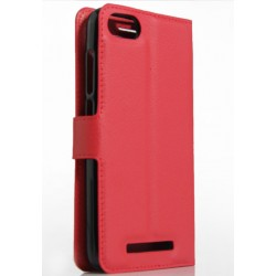 Protection Etui Portefeuille Cuir Rouge Wiko Lenny 2