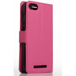 Protection Etui Portefeuille Cuir Rose Wiko Lenny 2