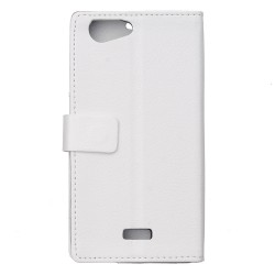 Protection Etui Portefeuille Cuir Blanc Wiko Jerry