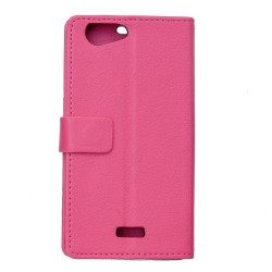 Protection Etui Portefeuille Cuir Rose Wiko Jerry