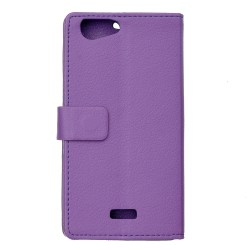Protection Etui Portefeuille Cuir Violet Wiko Jerry