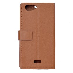 Protection Etui Portefeuille Cuir Marron Wiko Jerry