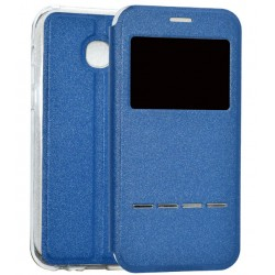 Etui Protection S-View Cover Bleu Pour Samsung Galaxy A3 (2017)