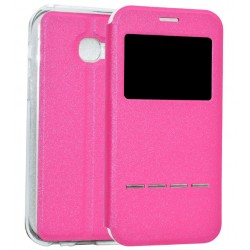 Etui Protection S-View Cover Rose Pour Samsung Galaxy A3 (2017)