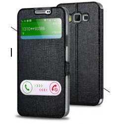 Black S-view Flip Case For Samsung Galaxy A3