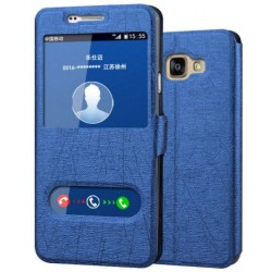 Etui Protection S-View Cover Bleu Pour Samsung Galaxy A7 (2016)