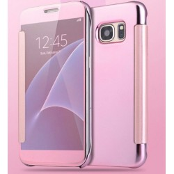 Etui Protection Led View Cover Rose Pour Samsung Galaxy A7 (2016)