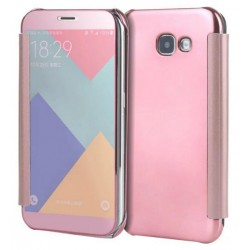 Etui Protection Led View Cover Rose Pour Samsung Galaxy A7 (2017)
