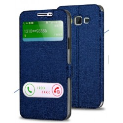 Etui Protection S-View Cover Bleu Pour Samsung Galaxy A7